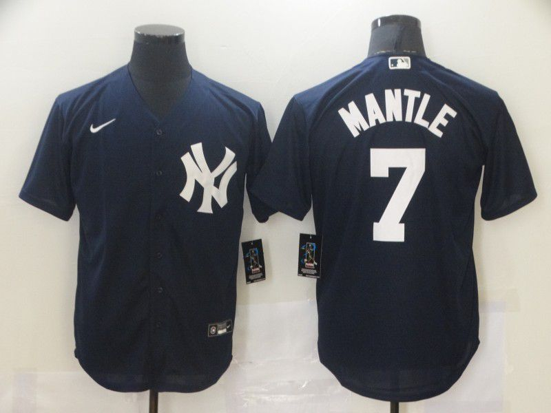 Cheap Men New York Yankees 7 Mantle Blue Game Nike MLB Jerseys